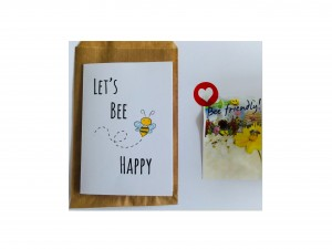 Kaart A6 let's bee happy met bloemzaad