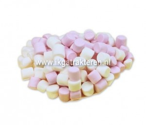 Snoep: Mini Marsmallows Roze 100 gram
